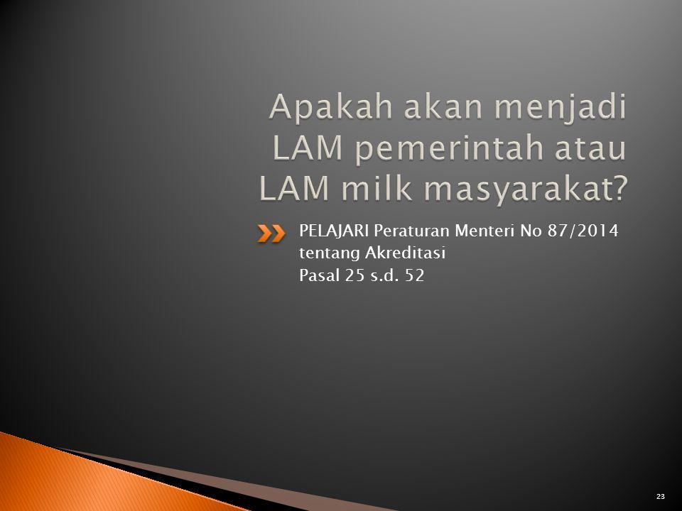 PELAJARI Peraturan Menteri No 87/2014 tentang Akreditasi Pasal 25 s.d. 52 23