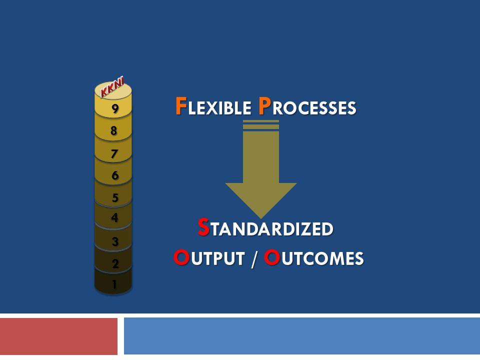 F LEXIBLE P ROCESSES S TANDARDIZED O UTPUT / O UTCOMES O UTPUT / O UTCOMES 1 2 3 4 5 7 8 9 6
