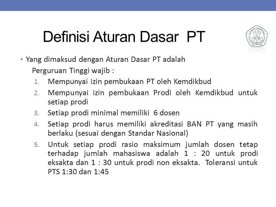 Definisi Aturan Dasar PT Yang dimaksud dengan Aturan Dasar PT adalah Perguruan Tinggi wajib : 1. Mempunyai izin pembukaan PT oleh Kemdikbud 2. Mempuny