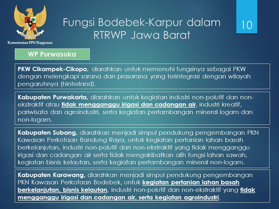 Kementerian PPN/Bappenas Fungsi Bodebek-Karpur dalam RTRWP Jawa Barat 10 WP Purwasuka PKW Cikampek-Cikopo, diarahkan untuk memenuhi fungsinya sebagai