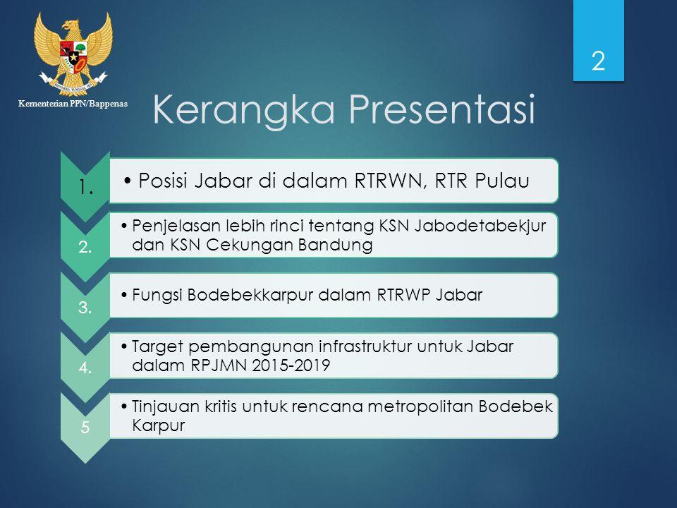Kementerian PPN/Bappenas Kerangka Presentasi 1. Posisi Jabar di dalam RTRWN, RTR Pulau 2. Penjelasan lebih rinci tentang KSN Jabodetabekjur dan KSN Ce