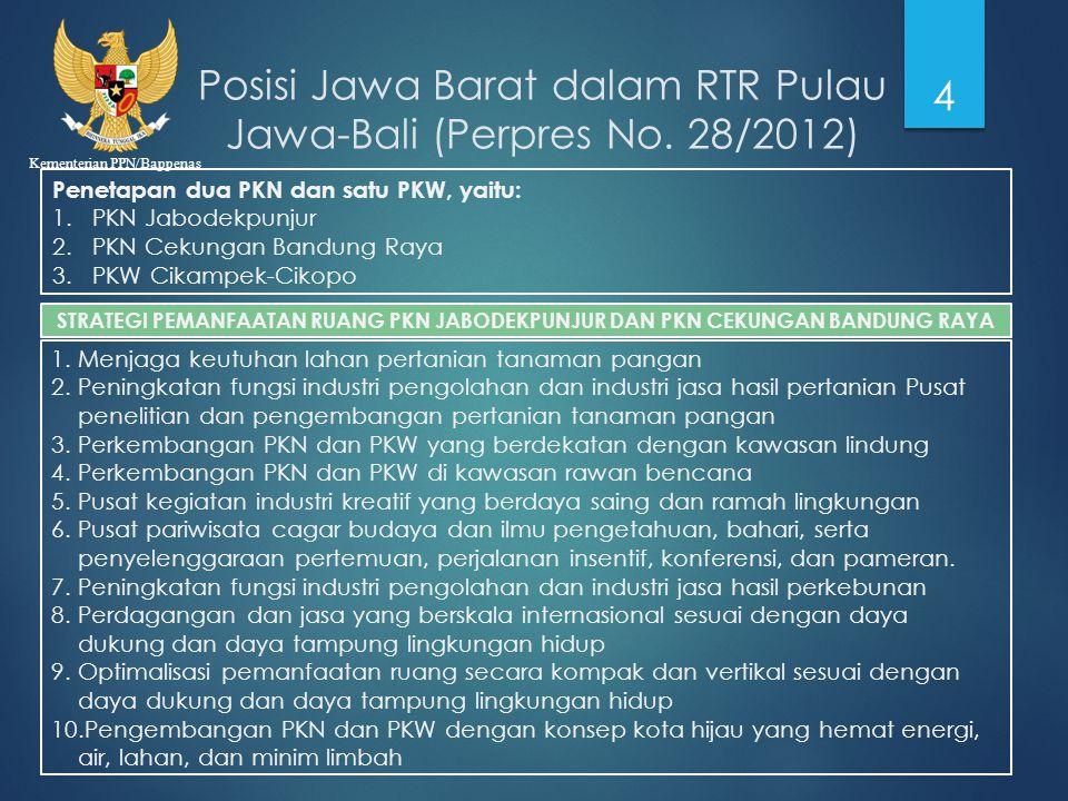 Kementerian PPN/Bappenas Penetapan dua PKN dan satu PKW, yaitu: 1.PKN Jabodekpunjur 2.PKN Cekungan Bandung Raya 3.PKW Cikampek-Cikopo Posisi Jawa Bara