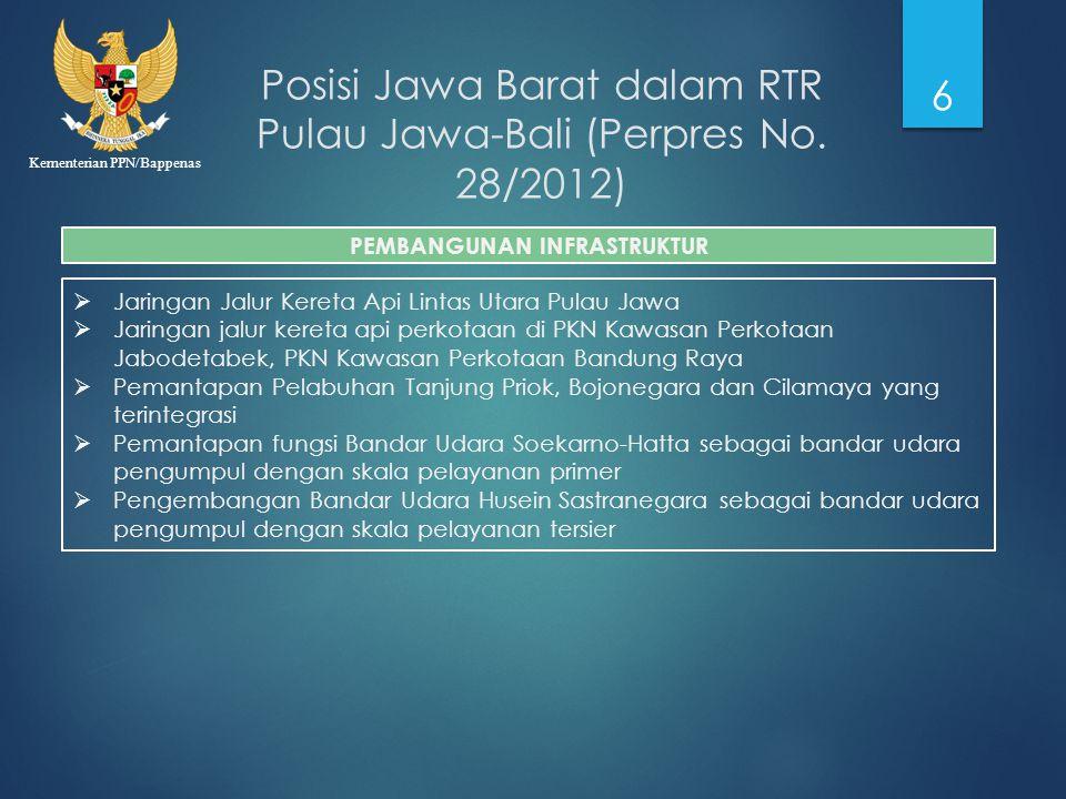 Kementerian PPN/Bappenas Posisi Jawa Barat dalam RTR Pulau Jawa-Bali (Perpres No. 28/2012) 6  Jaringan Jalur Kereta Api Lintas Utara Pulau Jawa  Jar