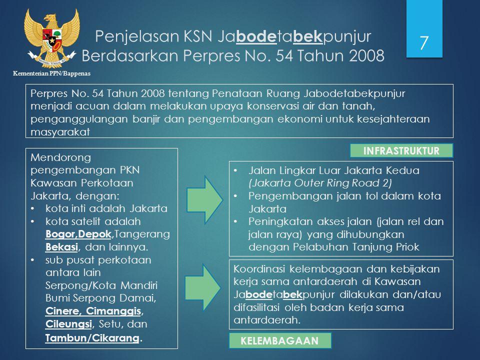 Kementerian PPN/Bappenas Penjelasan KSN Ja bode ta bek punjur Berdasarkan Perpres No. 54 Tahun 2008 7 Perpres No. 54 Tahun 2008 tentang Penataan Ruang