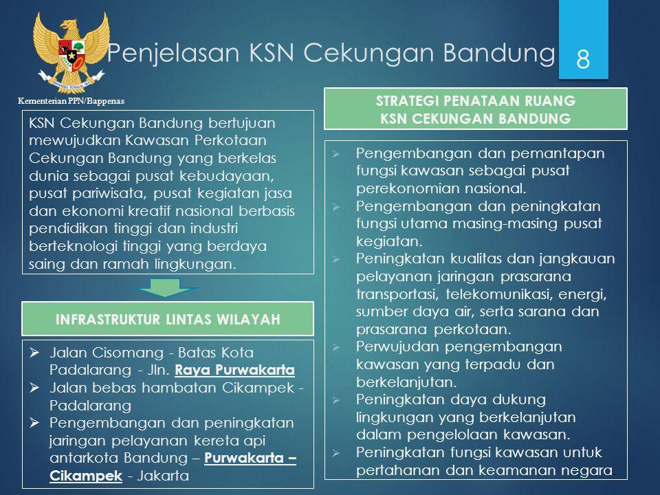 Kementerian PPN/Bappenas Penjelasan KSN Cekungan Bandung 8 KSN Cekungan Bandung bertujuan mewujudkan Kawasan Perkotaan Cekungan Bandung yang berkelas