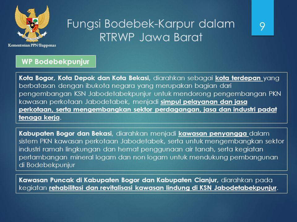 Kementerian PPN/Bappenas Fungsi Bodebek-Karpur dalam RTRWP Jawa Barat 9 WP Bodebekpunjur Kota Bogor, Kota Depok dan Kota Bekasi, diarahkan sebagai kot