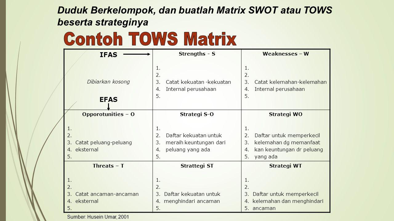 Duduk Berkelompok, dan buatlah Matrix SWOT atau TOWS beserta strateginya IFAS Dibiarkan kosong EFAS Strengths - S 1.