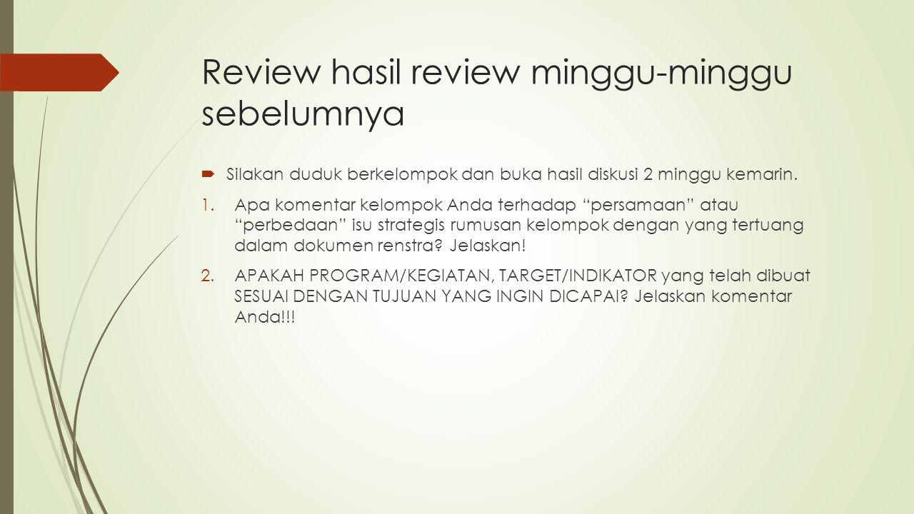Review hasil review minggu-minggu sebelumnya  Silakan duduk berkelompok dan buka hasil diskusi 2 minggu kemarin.