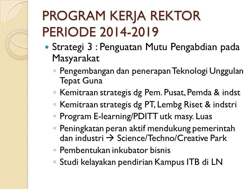 PROGRAM KERJA REKTOR PERIODE 2014-2019 Strategi 3 : Penguatan Mutu Pengabdian pada Masyarakat ◦ Pengembangan dan penerapan Teknologi Unggulan Tepat Guna ◦ Kemitraan strategis dg Pem.