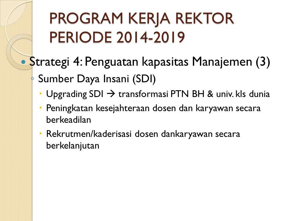 PROGRAM KERJA REKTOR PERIODE 2014-2019 Strategi 4: Penguatan kapasitas Manajemen (3) ◦ Sumber Daya Insani (SDI)  Upgrading SDI  transformasi PTN BH & univ.