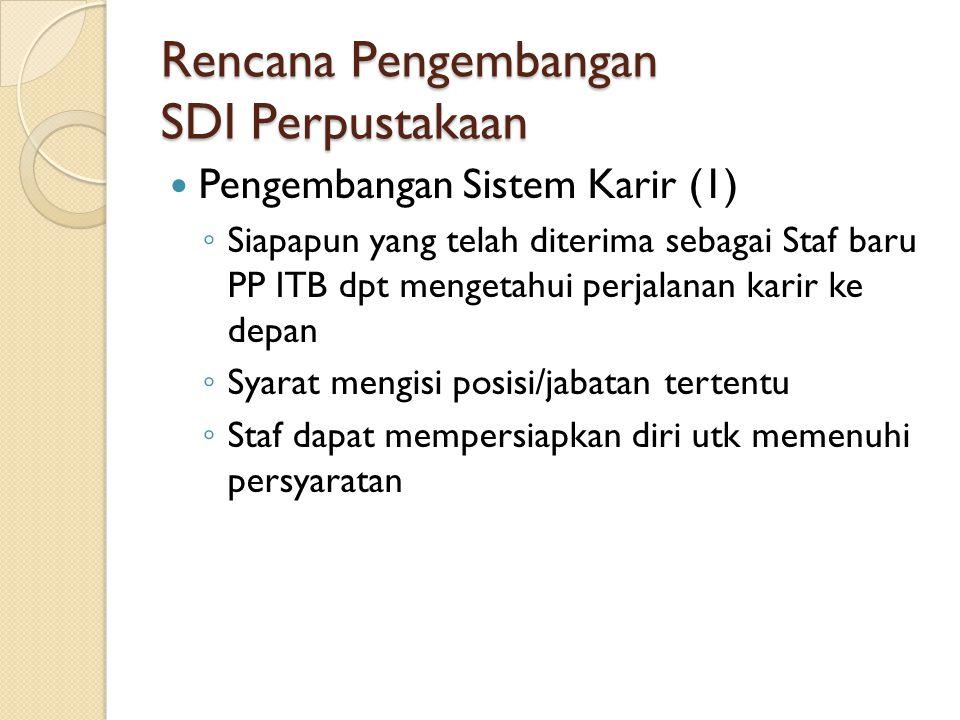 Rencana Pengembangan SDI Perpustakaan Pengembangan Sistem Karir (1) ◦ Siapapun yang telah diterima sebagai Staf baru PP ITB dpt mengetahui perjalanan karir ke depan ◦ Syarat mengisi posisi/jabatan tertentu ◦ Staf dapat mempersiapkan diri utk memenuhi persyaratan
