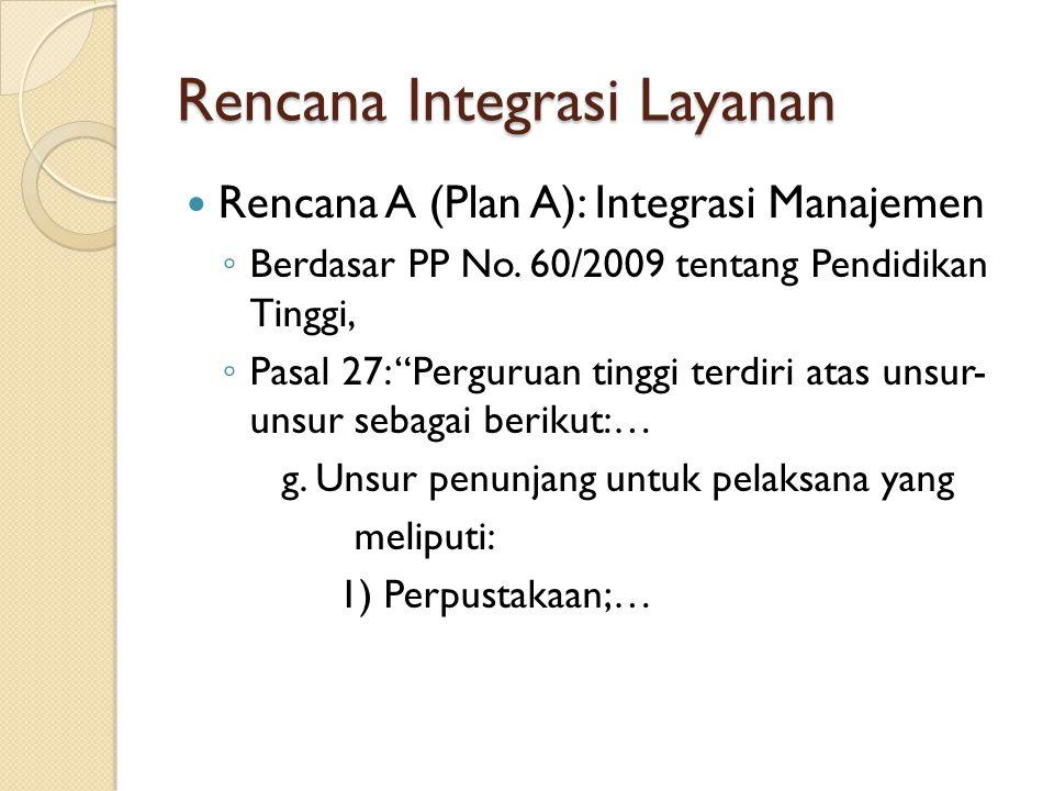 Rencana Integrasi Layanan Rencana A (Plan A): Integrasi Manajemen ◦ Berdasar PP No.