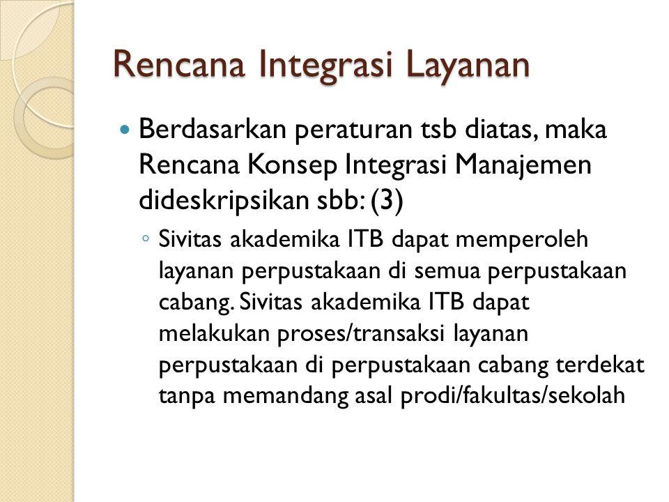 Rencana Integrasi Layanan Berdasarkan peraturan tsb diatas, maka Rencana Konsep Integrasi Manajemen dideskripsikan sbb: (3) ◦ Sivitas akademika ITB dapat memperoleh layanan perpustakaan di semua perpustakaan cabang.