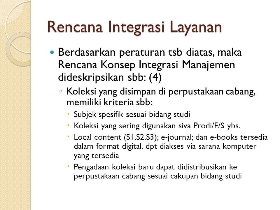 Rencana Integrasi Layanan Berdasarkan peraturan tsb diatas, maka Rencana Konsep Integrasi Manajemen dideskripsikan sbb: (4) ◦ Koleksi yang disimpan di perpustakaan cabang, memiliki kriteria sbb:  Subjek spesifik sesuai bidang studi  Koleksi yang sering digunakan siva Prodi/F/S ybs.