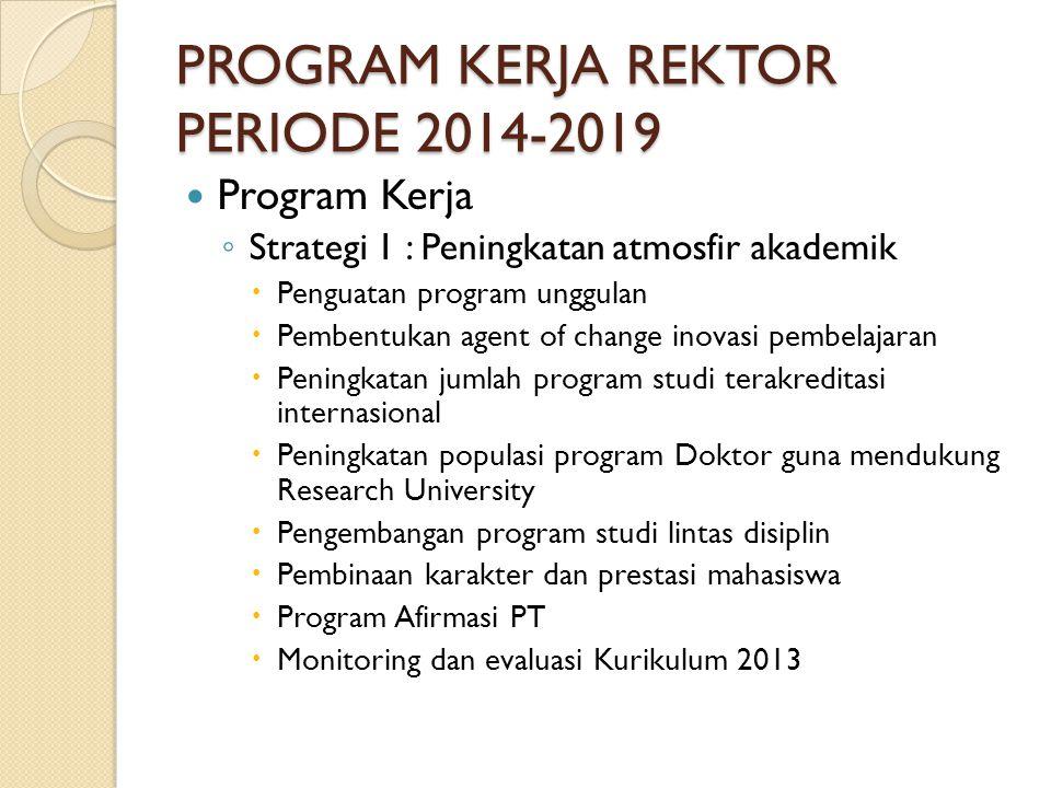 PROGRAM KERJA REKTOR PERIODE 2014-2019 Strategi 2: Penguatan ITB sebagai RU  EU ◦ Peningkatan publikasi ilmiah pada jurnal dan forum ilmiah bereputasi.