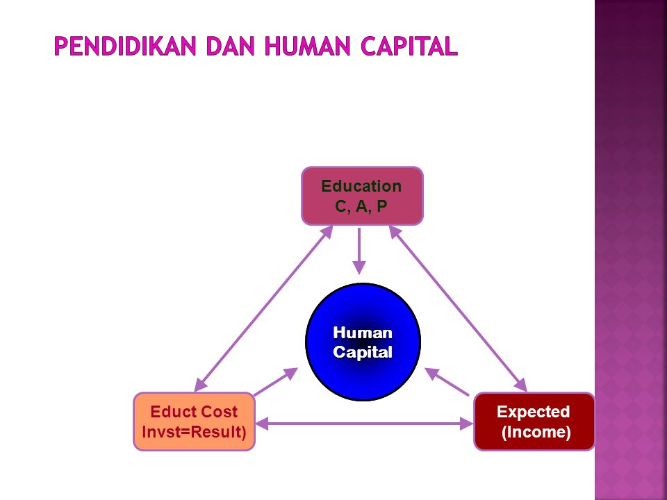 Human(Manusia) Expected (Income) Educt Cost Invst=Result) Education C, A, P HumanCapital