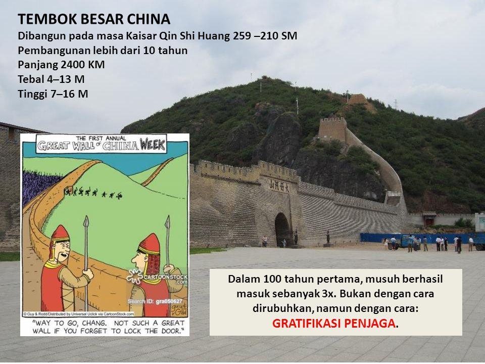 TEMBOK BESAR CHINA Dibangun pada masa Kaisar Qin Shi Huang 259 –210 SM Pembangunan lebih dari 10 tahun Panjang 2400 KM Tebal 4–13 M Tinggi 7–16 M Dala