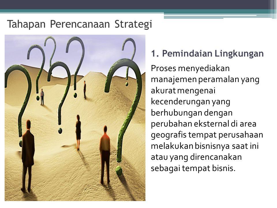 1. Pemindaian Lingkungan Proses menyediakan manajemen peramalan yang akurat mengenai kecenderungan yang berhubungan dengan perubahan eksternal di area