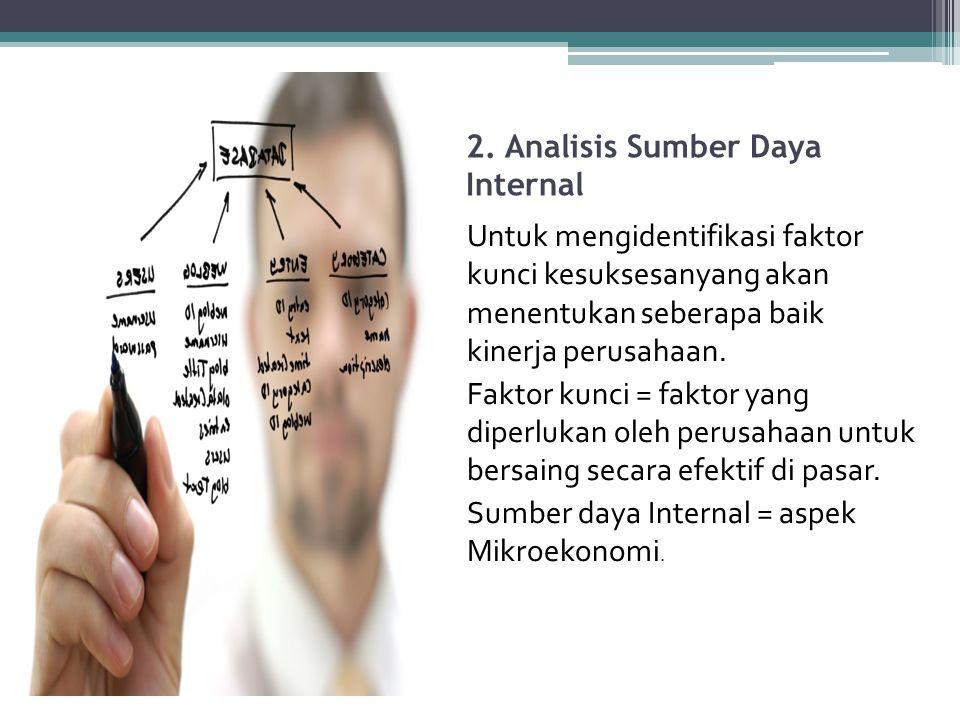 2. Analisis Sumber Daya Internal Untuk mengidentifikasi faktor kunci kesuksesanyang akan menentukan seberapa baik kinerja perusahaan. Faktor kunci = f