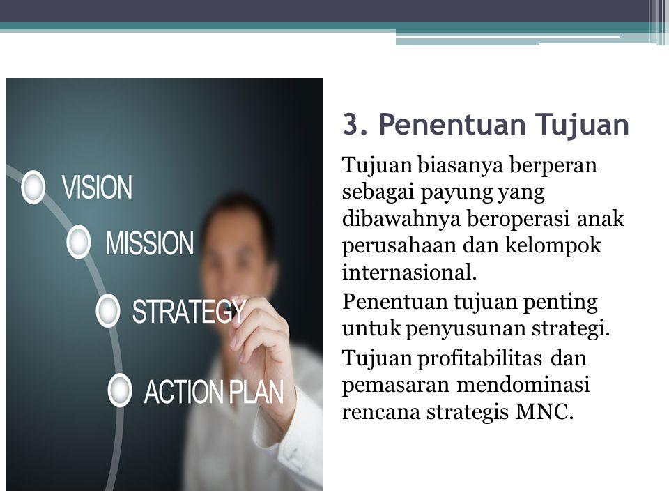 3. Penentuan Tujuan Tujuan biasanya berperan sebagai payung yang dibawahnya beroperasi anak perusahaan dan kelompok internasional. Penentuan tujuan pe