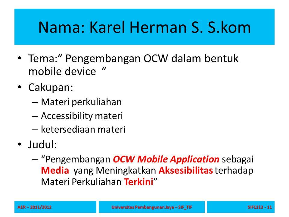 Nama: Karel Herman S.