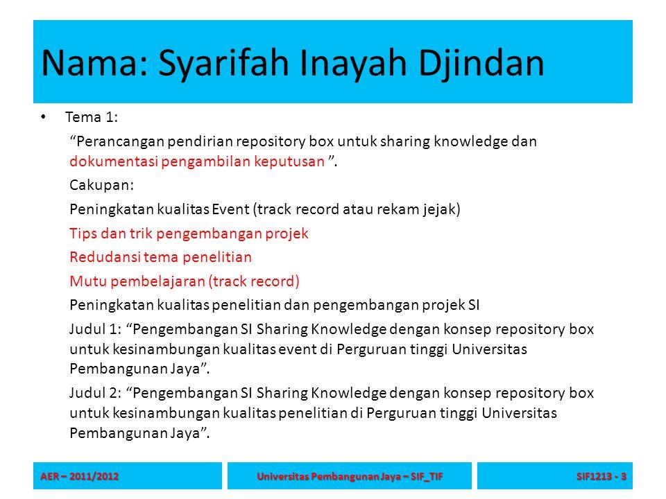 Nama: Syarifah Inayah Djindan Tema 1: Perancangan pendirian repository box untuk sharing knowledge dan dokumentasi pengambilan keputusan .