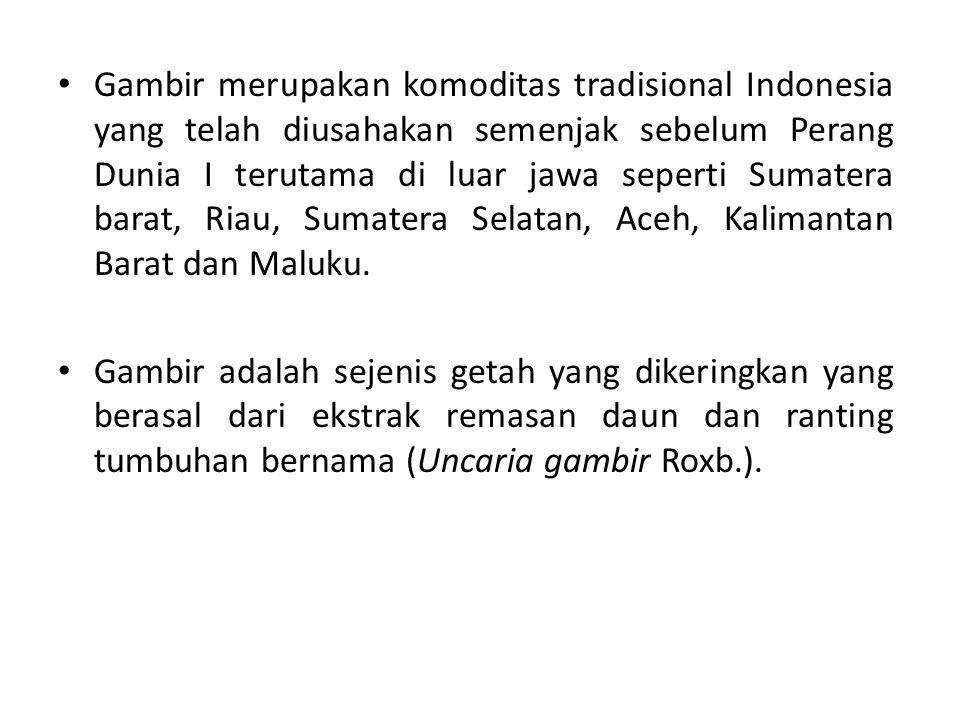 Gambir merupakan komoditas tradisional Indonesia yang telah diusahakan semenjak sebelum Perang Dunia I terutama di luar jawa seperti Sumatera barat, R