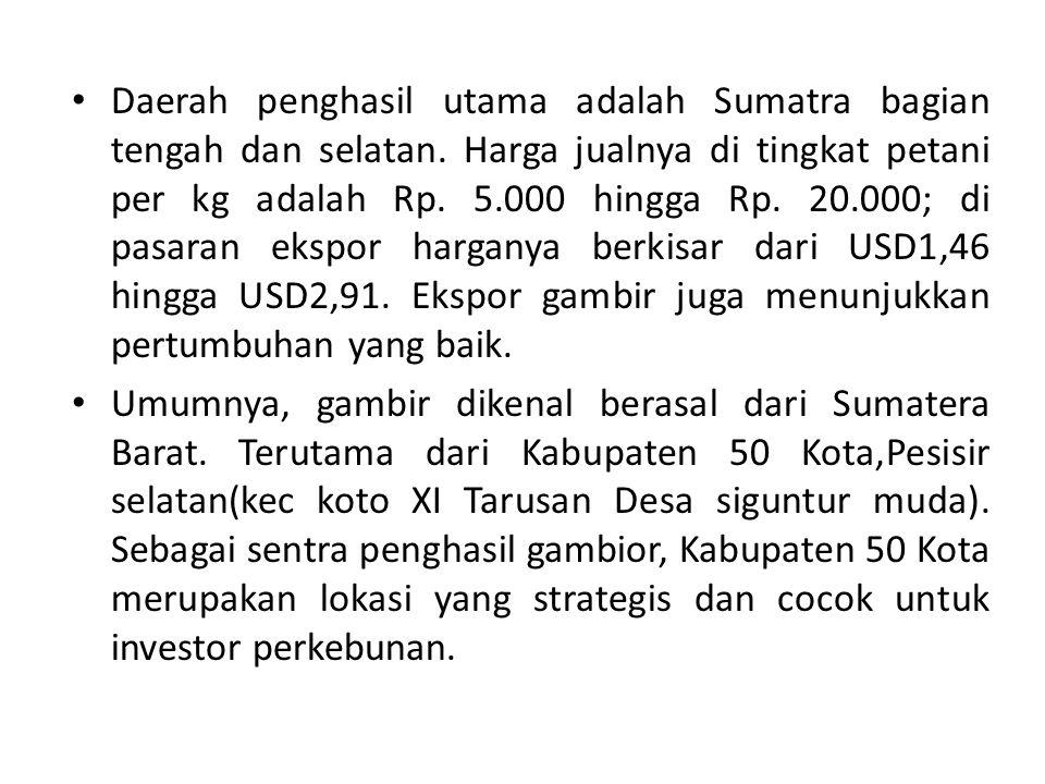Daerah penghasil utama adalah Sumatra bagian tengah dan selatan. Harga jualnya di tingkat petani per kg adalah Rp. 5.000 hingga Rp. 20.000; di pasaran