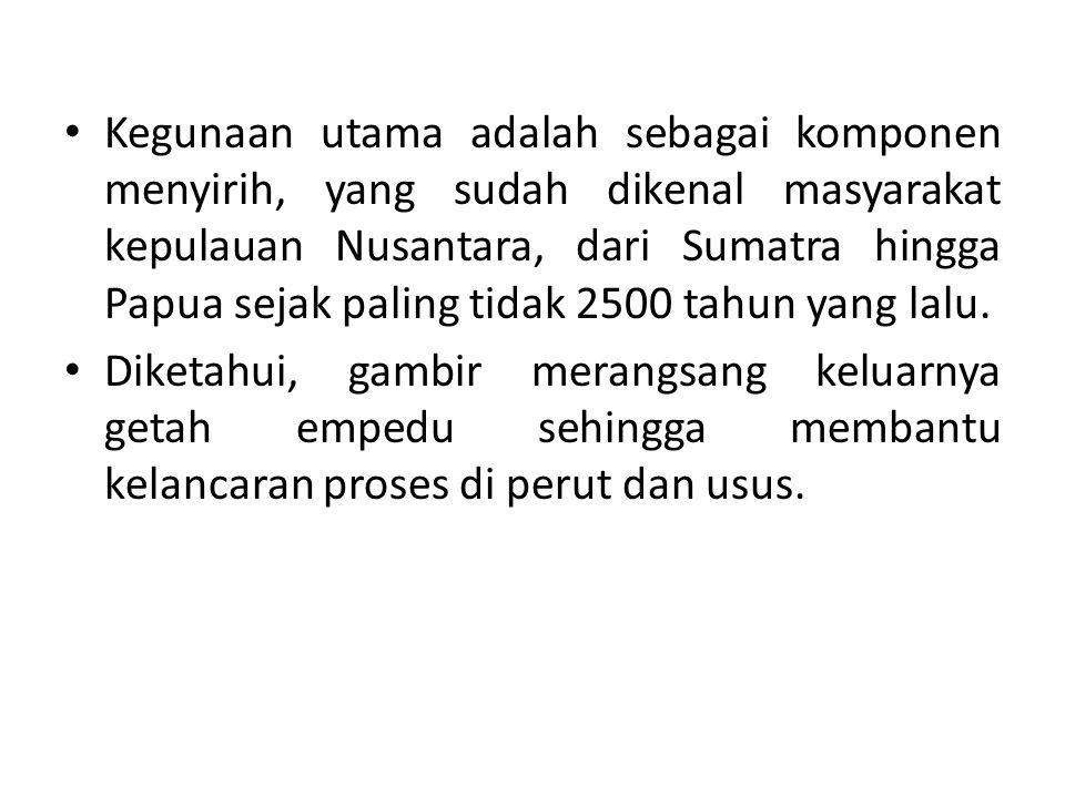 Kegunaan utama adalah sebagai komponen menyirih, yang sudah dikenal masyarakat kepulauan Nusantara, dari Sumatra hingga Papua sejak paling tidak 2500