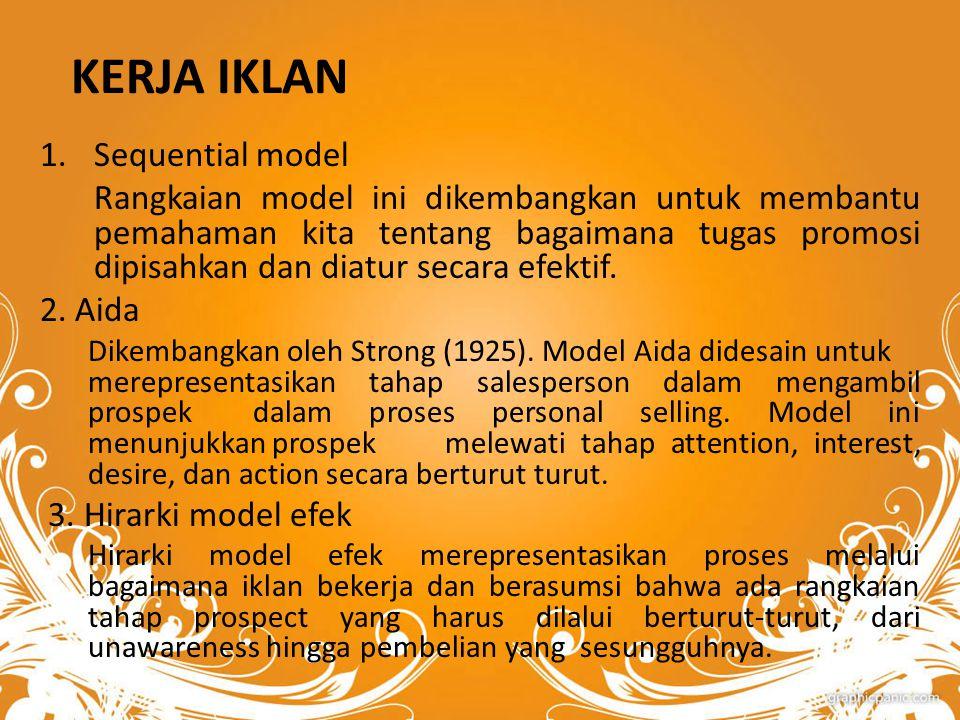 KERJA IKLAN 1.Sequential model Rangkaian model ini dikembangkan untuk membantu pemahaman kita tentang bagaimana tugas promosi dipisahkan dan diatur secara efektif.