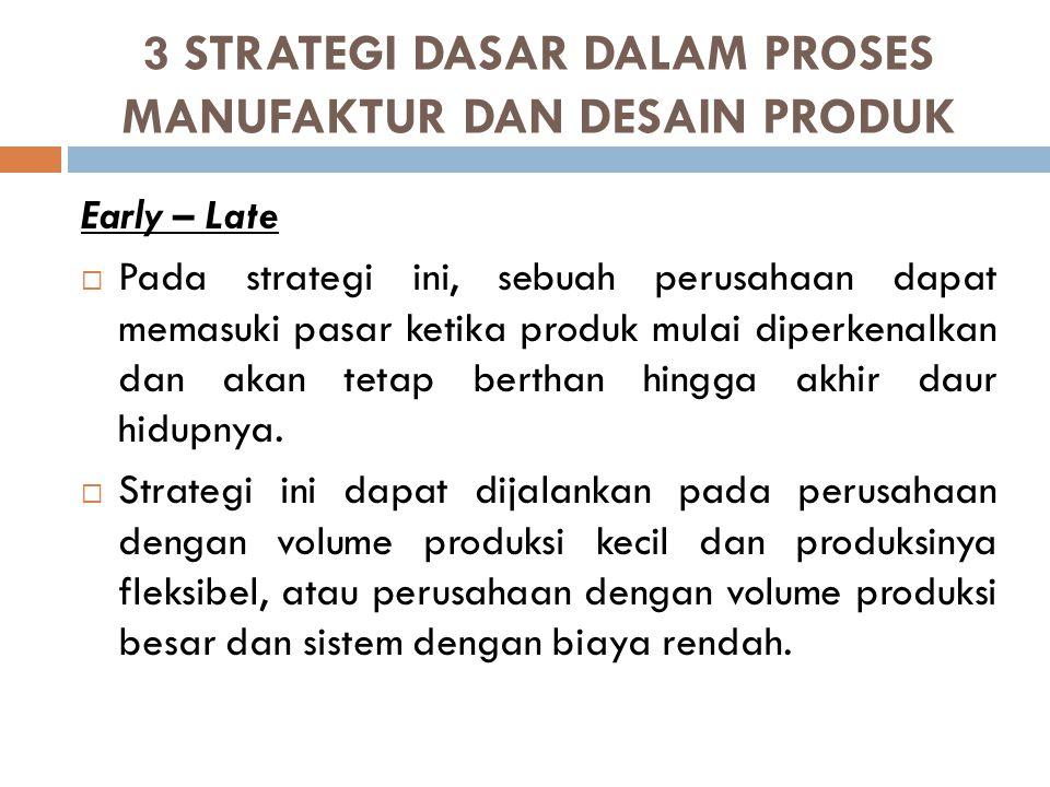 3 STRATEGI DASAR DALAM PROSES MANUFAKTUR DAN DESAIN PRODUK Early – Late  Pada strategi ini, sebuah perusahaan dapat memasuki pasar ketika produk mula
