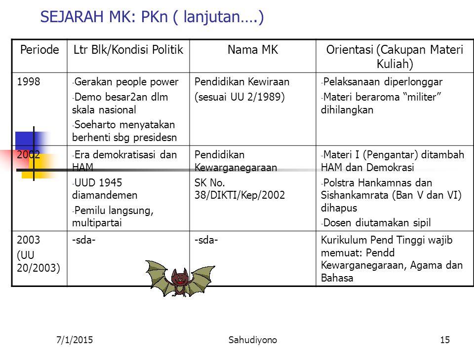 7/1/2015Sahudiyono14 SEJARAH MK: PKn PeriodeLtr Blk/Kondisi Politik Nama MKOrientasi (Cakupan Materi Kuliah) 67-73 (SKB) a.Ketidakstabilan politik (Pa