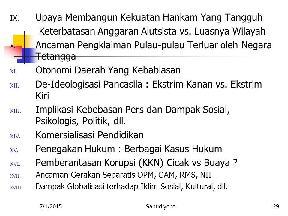 7/1/2015Sahudiyono28 Tema-Tema Paper I. Implementasi HAM di Indonesia : a. Kasusu Pritha Mulyasari b. Penggusuran PKL, c. Lapindo II. Implementasi Dem