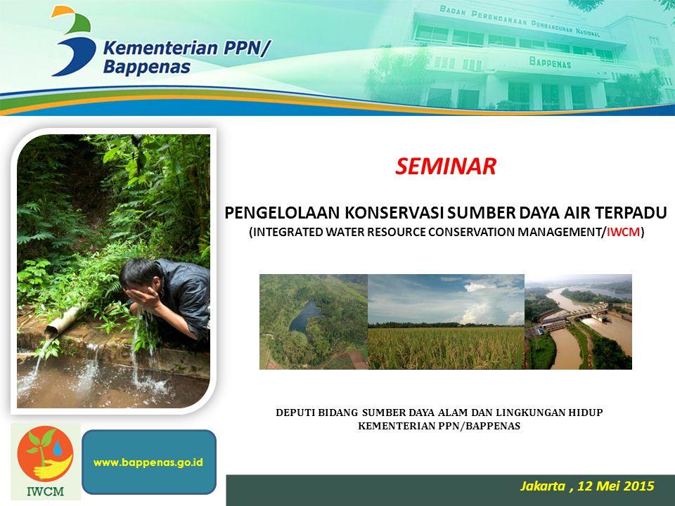 SEMINAR PENGELOLAAN KONSERVASI SUMBER DAYA AIR TERPADU (INTEGRATED WATER RESOURCE CONSERVATION MANAGEMENT/IWCM) Jakarta, 12 Mei 2015 DEPUTI BIDANG SUM