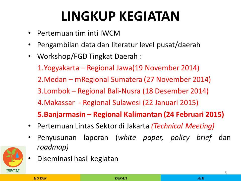 LINGKUP KEGIATAN Pertemuan tim inti IWCM Pengambilan data dan literatur level pusat/daerah Workshop/FGD Tingkat Daerah : 1.Yogyakarta – Regional Jawa(