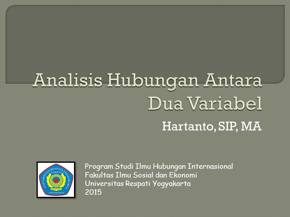Hartanto, SIP, MA Program Studi Ilmu Hubungan Internasional Fakultas Ilmu Sosial dan Ekonomi Universitas Respati Yogyakarta 2015