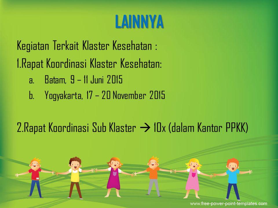 LAINNYA Kegiatan Terkait Klaster Kesehatan : 1.Rapat Koordinasi Klaster Kesehatan: a.Batam, 9 – 11 Juni 2015 b.Yogyakarta, 17 – 20 November 2015 2.Rap