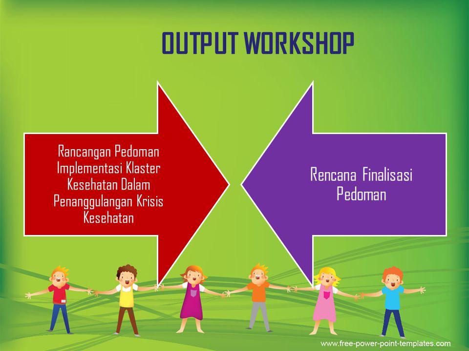 OUTPUT WORKSHOP Rancangan Pedoman Implementasi Klaster Kesehatan Dalam Penanggulangan Krisis Kesehatan Rencana Finalisasi Pedoman