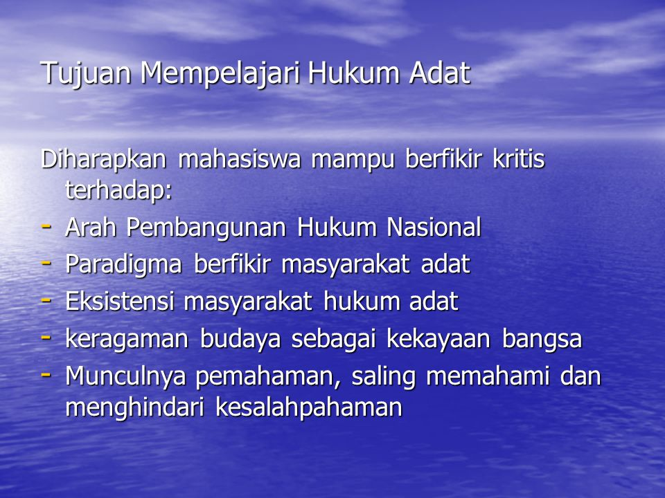 Corak Hukum Adat 4.