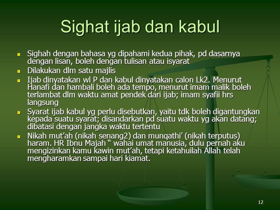 12 Sighat ijab dan kabul Sighah dengan bahasa yg dipahami kedua pihak, pd dasarnya dengan lisan, boleh dengan tulisan atau isyarat Sighah dengan bahas