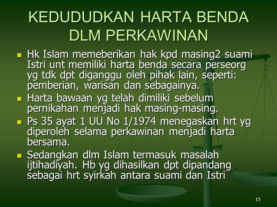 15 KEDUDUDKAN HARTA BENDA DLM PERKAWINAN Hk Islam memeberikan hak kpd masing2 suami Istri unt memiliki harta benda secara perseorg yg tdk dpt diganggu oleh pihak lain, seperti: pemberian, warisan dan sebagainya.