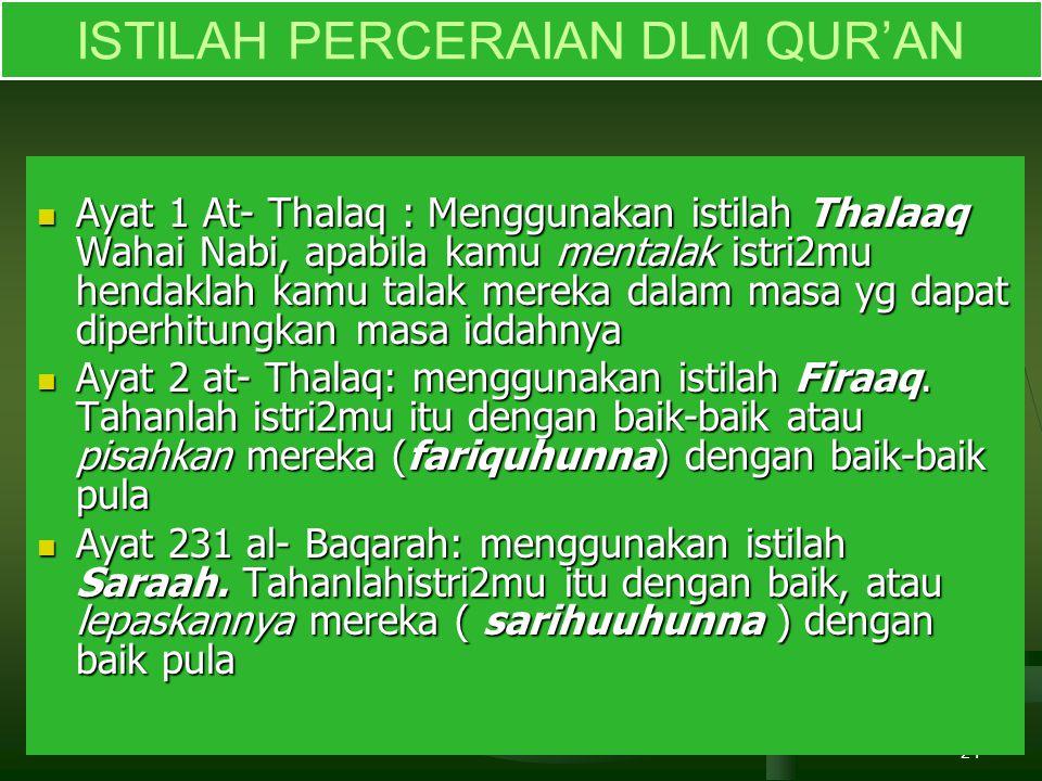 24 ISTILAH PERCERAIAN DLM QUR'AN Ayat 1 At- Thalaq : Menggunakan istilah Thalaaq Wahai Nabi, apabila kamu mentalak istri2mu hendaklah kamu talak merek