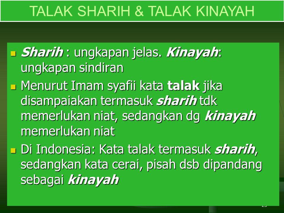 25 TALAK SHARIH & TALAK KINAYAH Sharih : ungkapan jelas.