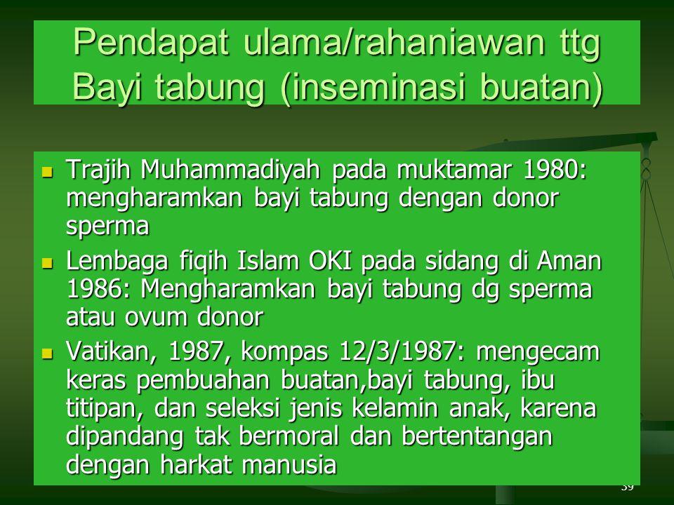 39 Pendapat ulama/rahaniawan ttg Bayi tabung (inseminasi buatan) Trajih Muhammadiyah pada muktamar 1980: mengharamkan bayi tabung dengan donor sperma Trajih Muhammadiyah pada muktamar 1980: mengharamkan bayi tabung dengan donor sperma Lembaga fiqih Islam OKI pada sidang di Aman 1986: Mengharamkan bayi tabung dg sperma atau ovum donor Lembaga fiqih Islam OKI pada sidang di Aman 1986: Mengharamkan bayi tabung dg sperma atau ovum donor Vatikan, 1987, kompas 12/3/1987: mengecam keras pembuahan buatan,bayi tabung, ibu titipan, dan seleksi jenis kelamin anak, karena dipandang tak bermoral dan bertentangan dengan harkat manusia Vatikan, 1987, kompas 12/3/1987: mengecam keras pembuahan buatan,bayi tabung, ibu titipan, dan seleksi jenis kelamin anak, karena dipandang tak bermoral dan bertentangan dengan harkat manusia