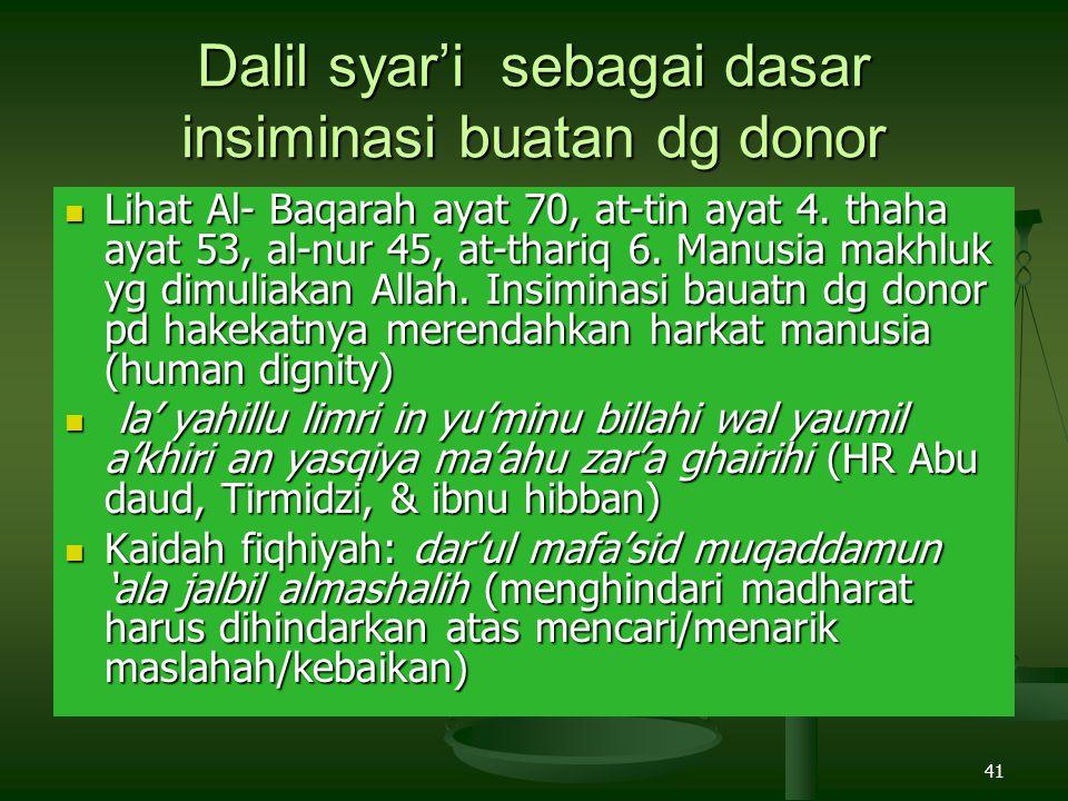 41 Dalil syar'i sebagai dasar insiminasi buatan dg donor Lihat Al- Baqarah ayat 70, at-tin ayat 4. thaha ayat 53, al-nur 45, at-thariq 6. Manusia makh