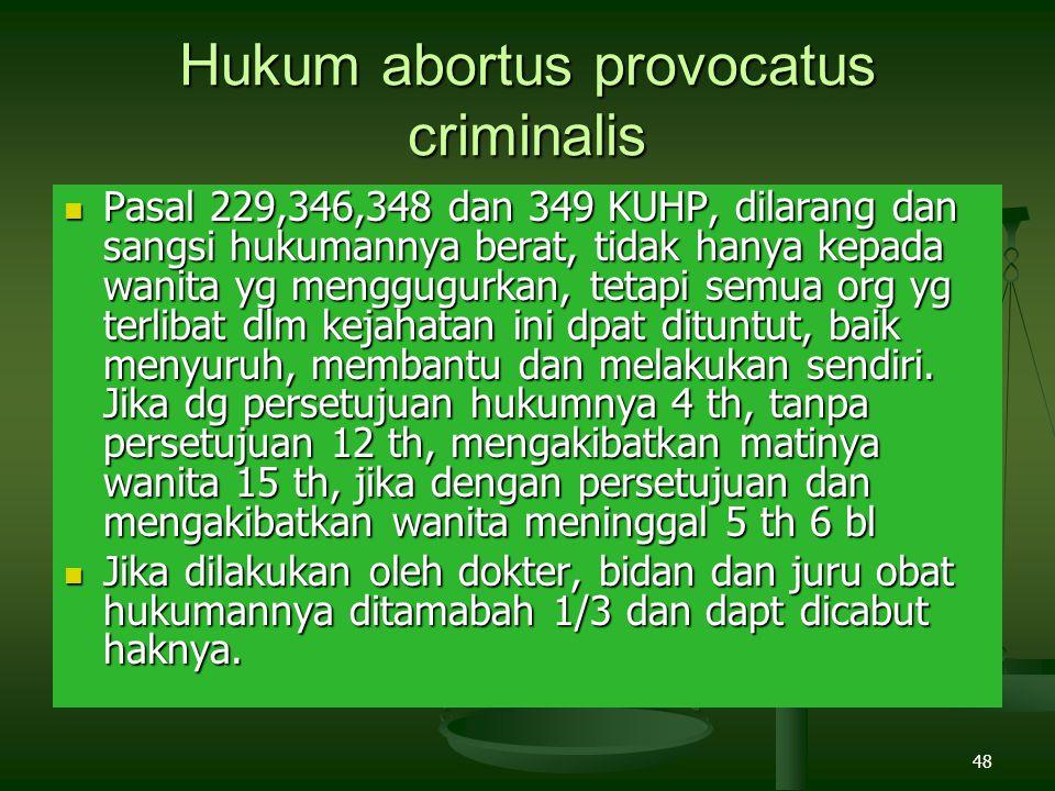 48 Hukum abortus provocatus criminalis Pasal 229,346,348 dan 349 KUHP, dilarang dan sangsi hukumannya berat, tidak hanya kepada wanita yg menggugurkan, tetapi semua org yg terlibat dlm kejahatan ini dpat dituntut, baik menyuruh, membantu dan melakukan sendiri.