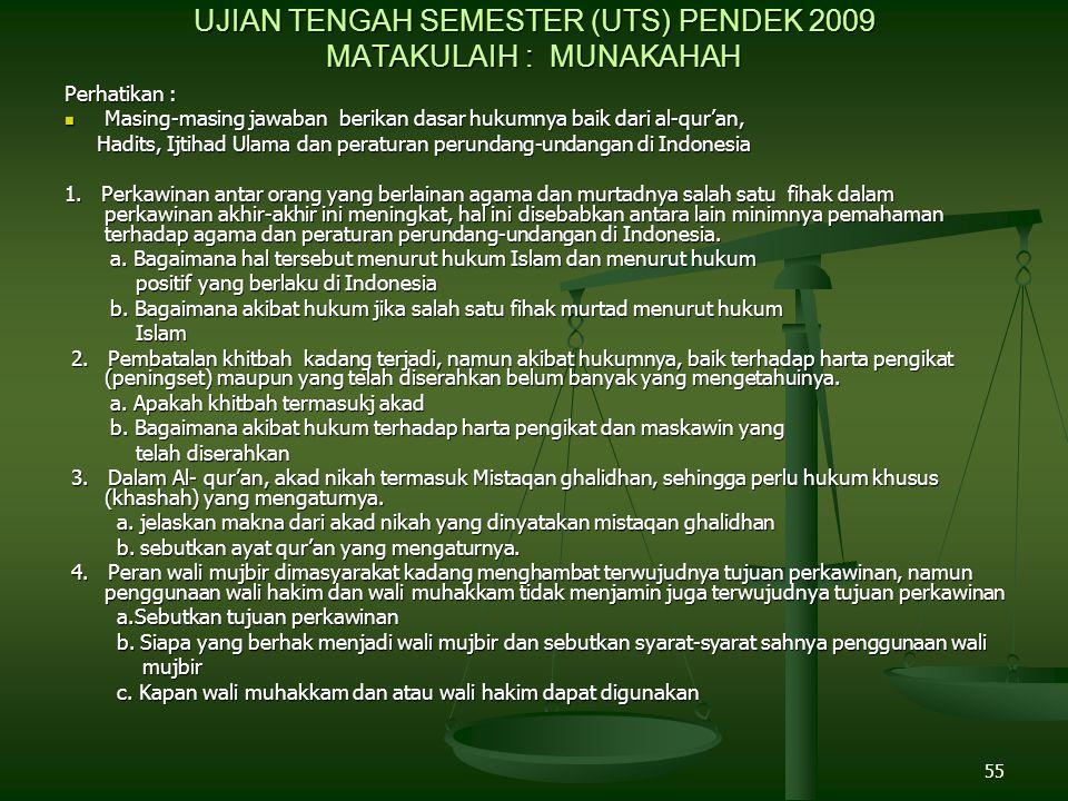 55 UJIAN TENGAH SEMESTER (UTS) PENDEK 2009 MATAKULAIH : MUNAKAHAH Perhatikan : Masing-masing jawaban berikan dasar hukumnya baik dari al-qur'an, Masing-masing jawaban berikan dasar hukumnya baik dari al-qur'an, Hadits, Ijtihad Ulama dan peraturan perundang-undangan di Indonesia Hadits, Ijtihad Ulama dan peraturan perundang-undangan di Indonesia 1.