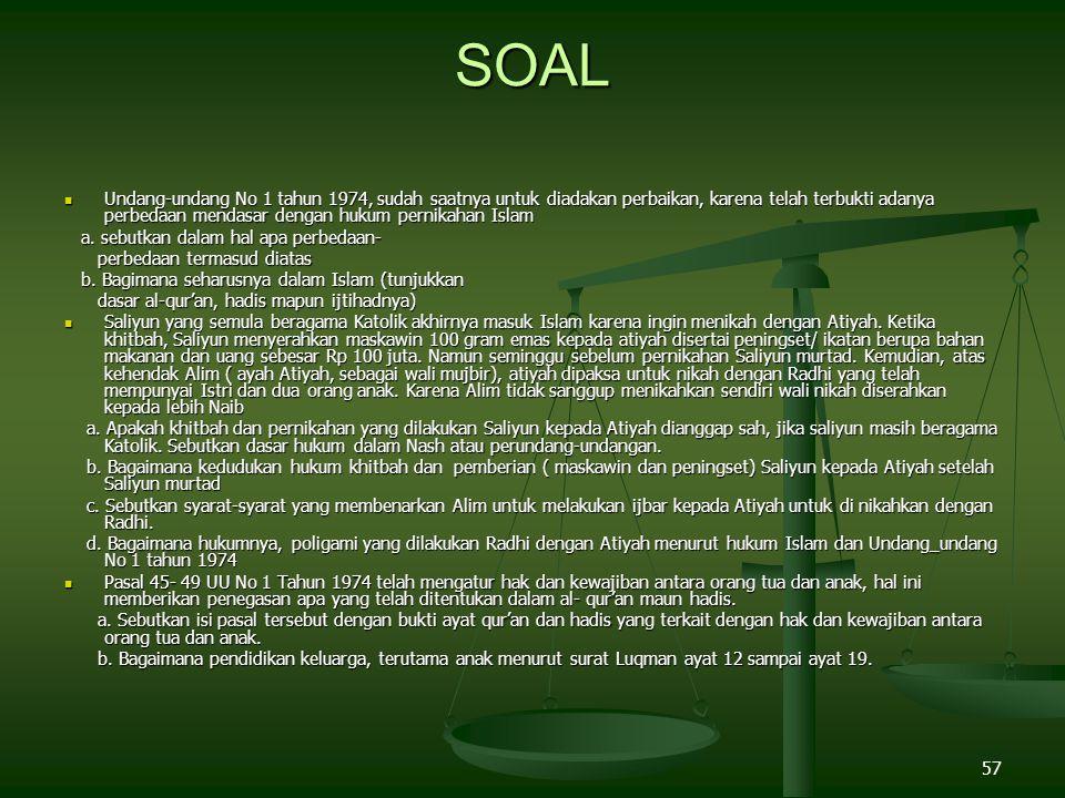 57 SOAL Undang-undang No 1 tahun 1974, sudah saatnya untuk diadakan perbaikan, karena telah terbukti adanya perbedaan mendasar dengan hukum pernikahan Islam Undang-undang No 1 tahun 1974, sudah saatnya untuk diadakan perbaikan, karena telah terbukti adanya perbedaan mendasar dengan hukum pernikahan Islam a.