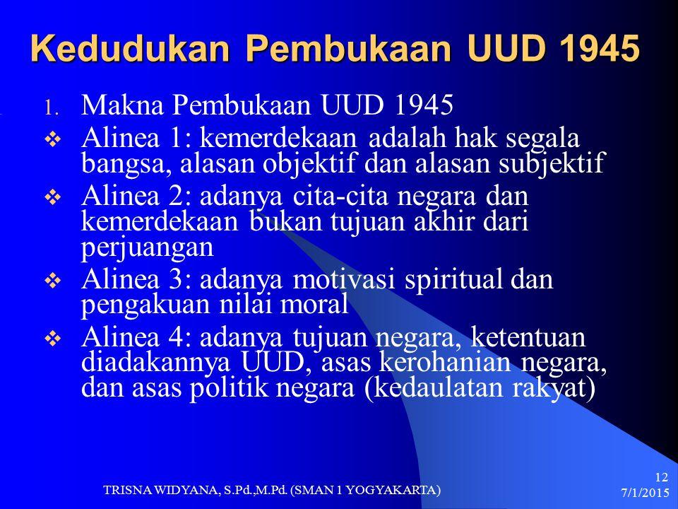 Kedudukan Pembukaan UUD 1945 1. Makna Pembukaan UUD 1945  Alinea 1: kemerdekaan adalah hak segala bangsa, alasan objektif dan alasan subjektif  Alin