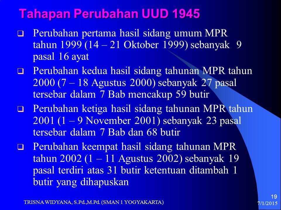 Tahapan Perubahan UUD 1945  Perubahan pertama hasil sidang umum MPR tahun 1999 (14 – 21 Oktober 1999) sebanyak 9 pasal 16 ayat  Perubahan kedua hasi